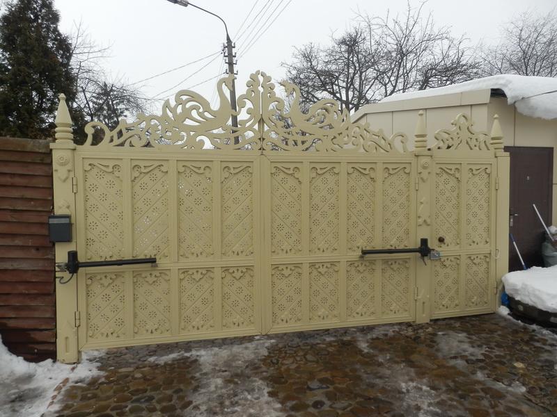 Распашные ворота проект 9